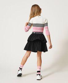 "Colour block ribbed jumper ""Off White"" / Black / ""Rose Bloom"" Pink Multicolour Child 211GJ3500-03"