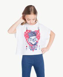 "T-shirt boxy Blanc ""Papers"" Enfant GS82A6-02"