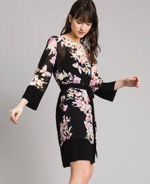"Floral print georgette tunic dress ""Peach Flowers"" Pink Black Print Woman 191TP271B-03"