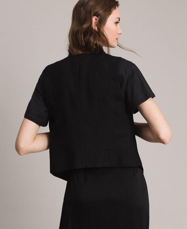 Natural canvas waistcoat Black Woman 191TT2294-04