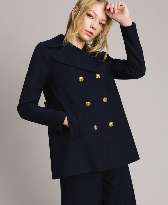the best distinctive style choose official Wool double-breasted peacoat Woman, Blue | TWINSET Milano