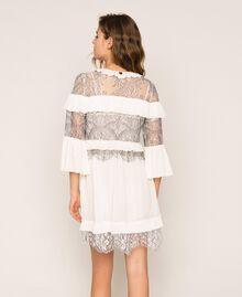 Robe plissée avec dentelle bicolore Blanc Neige Femme 201TT2142-03