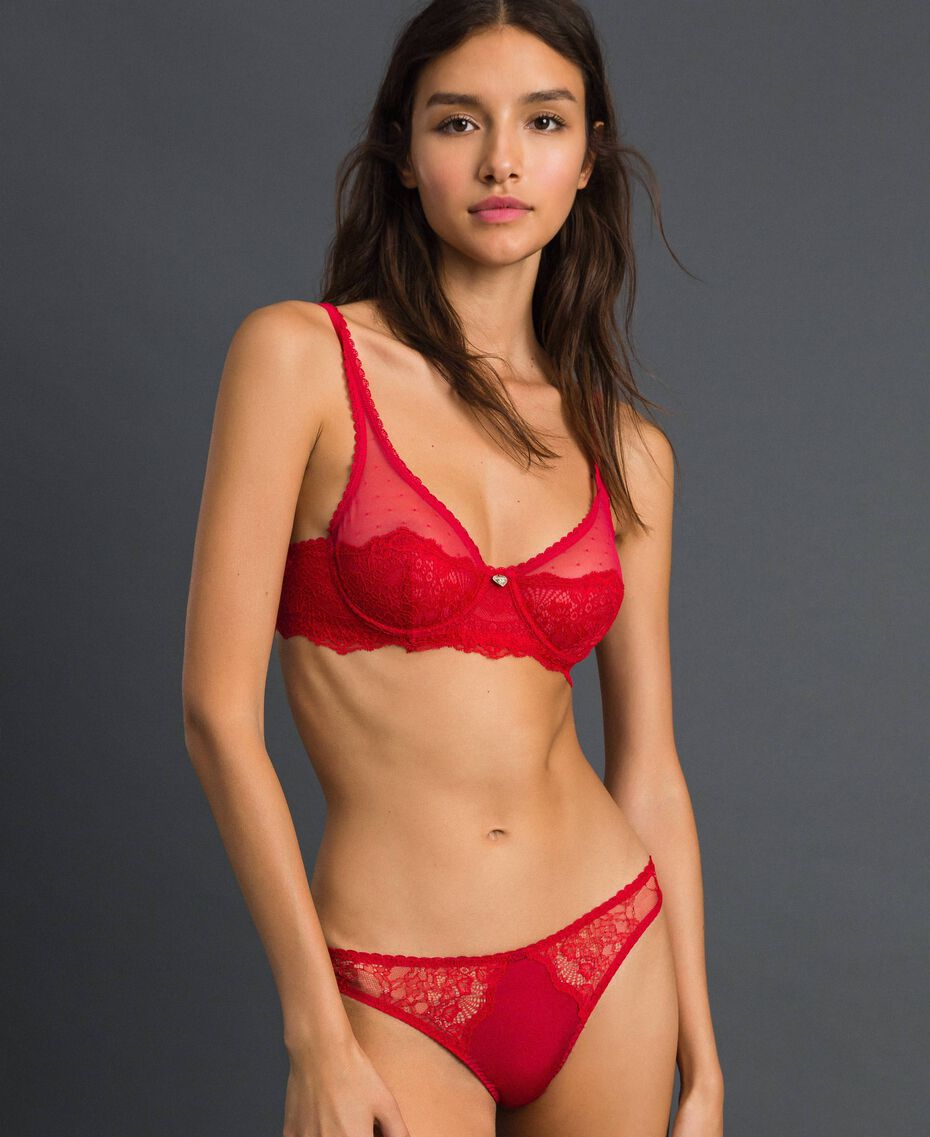 Underwire lace and tulle bra Burning Red Woman 192LL6C55-02