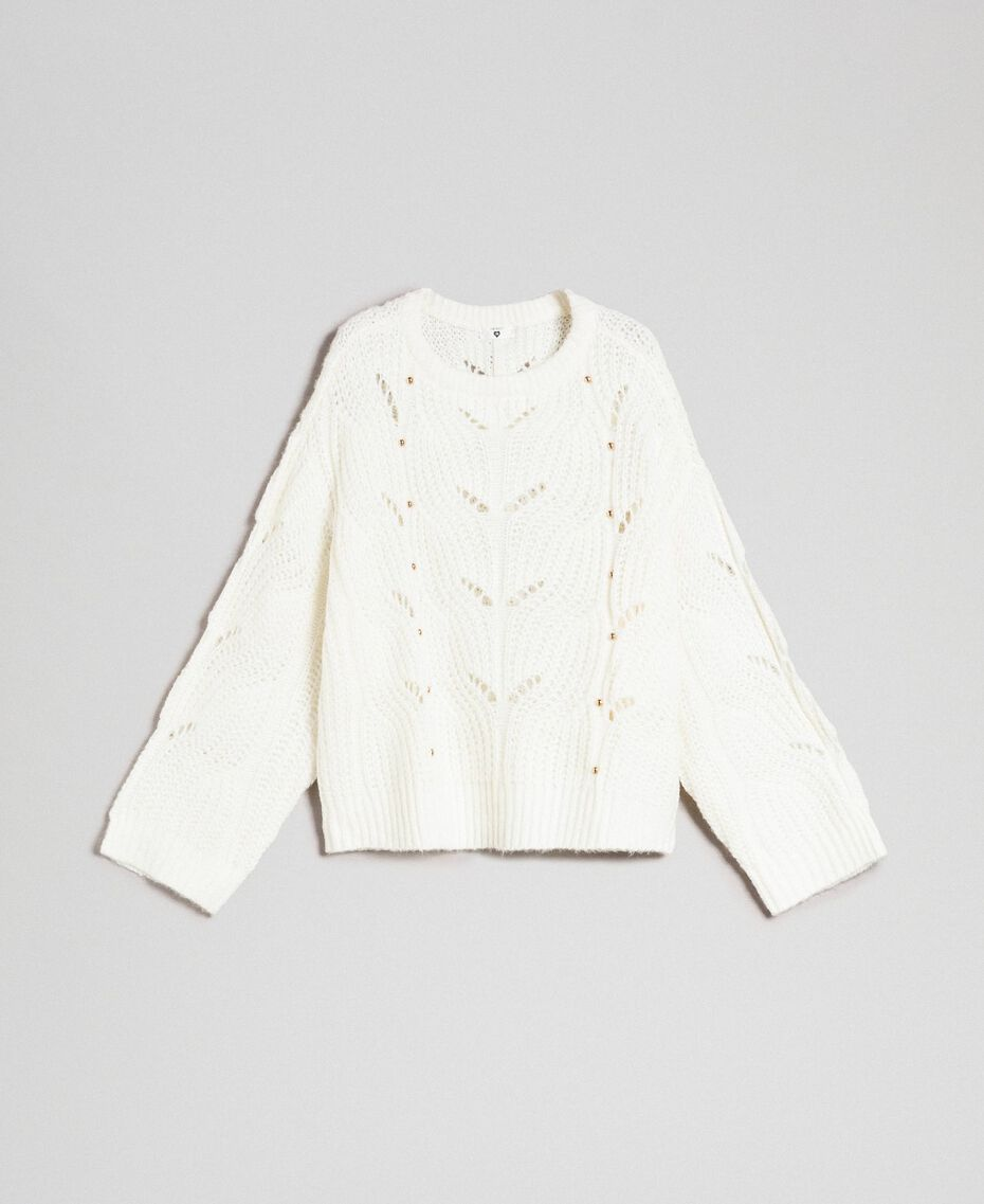 Openwork oversized jumper with studs Ivory Woman 192LL3HGG-0S