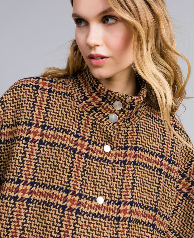 Manteau poncho à grands carreaux Bicolore Carreaux Beige Cookie / Orange Brûlée Femme TA821C-04