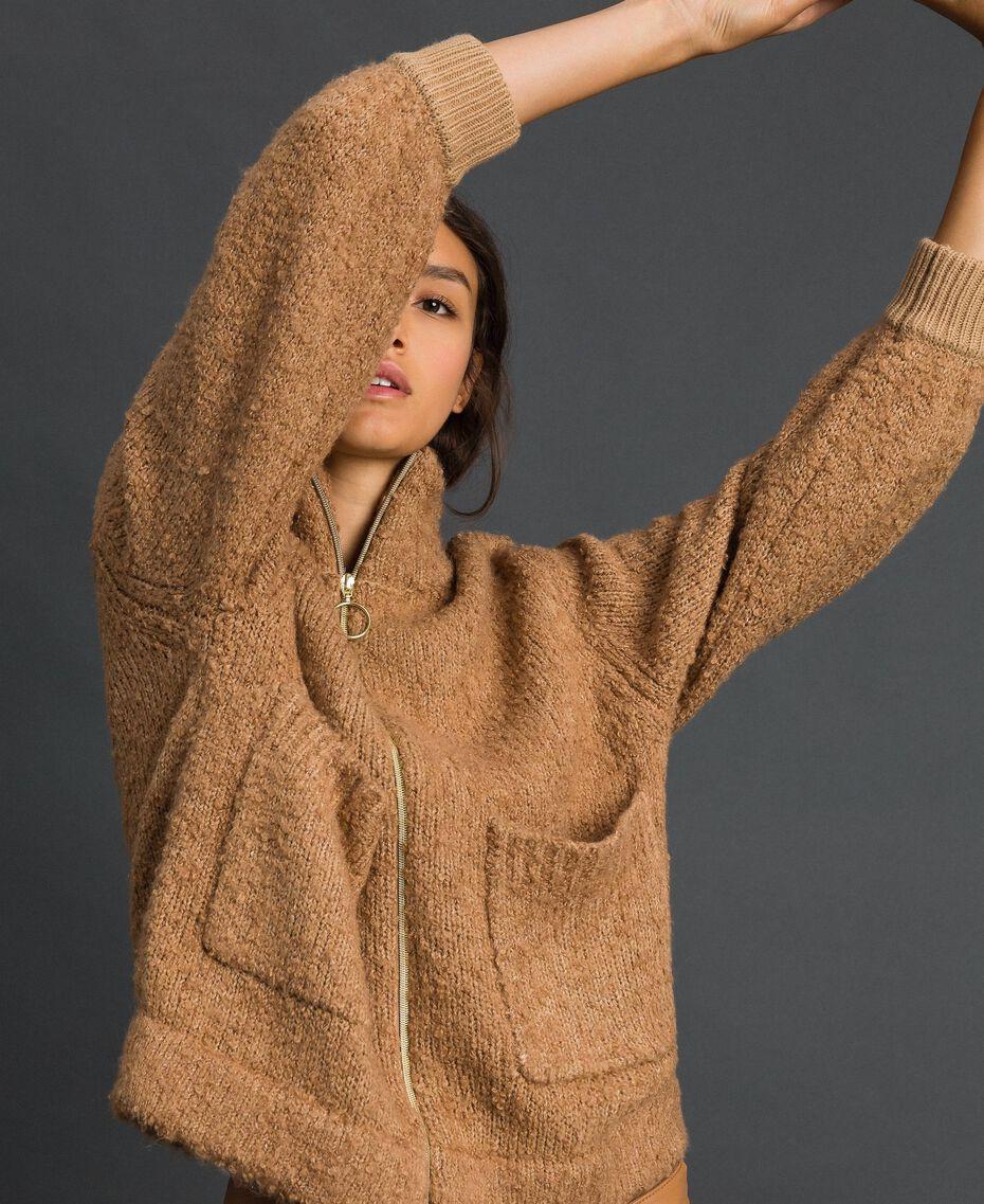 Blouson en maille bouclée Beige «Camel Skin» Femme 192LI3KDD-05
