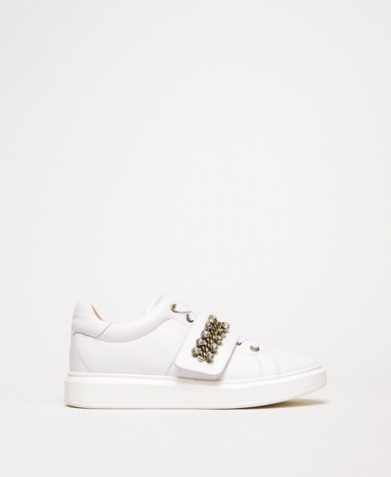 Leather trainers with bezels