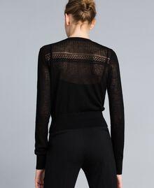 Cardigan en laine mélangée avec mélange de points Noir Femme PA83C2-04