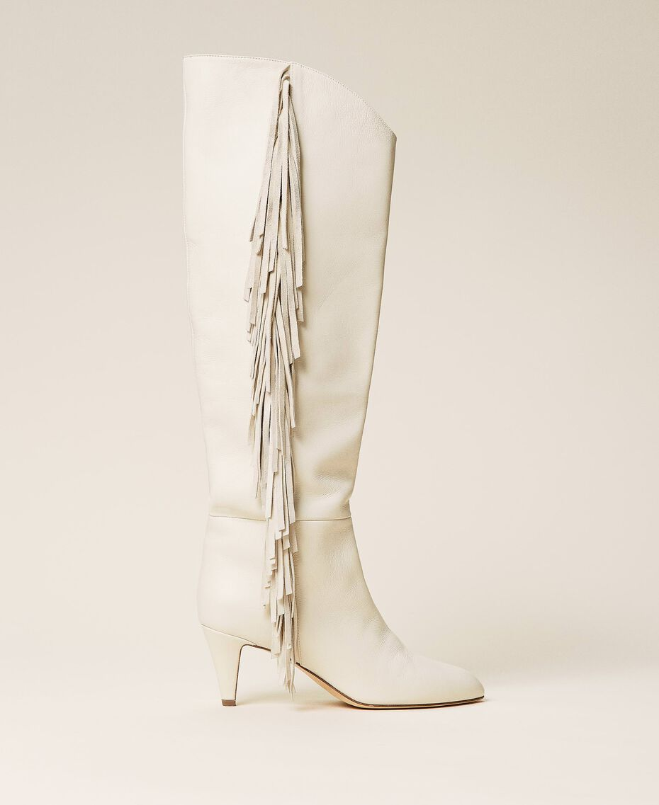 Leather high boots with fringes White Snow Woman 212TCP10G-01