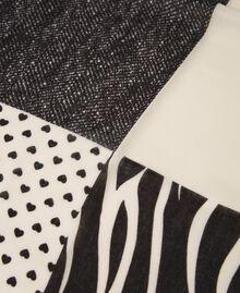 Keffieh avec mélange d'imprimés Bicolore Blanc Crème / Noir Femme 202MA432M-03