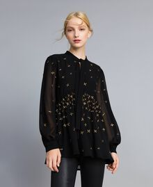 Embroidered georgette blouse Black Woman TA826B-01
