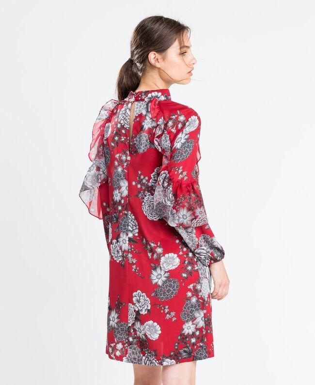 """Kleid aus Twill mit Blumenprint Print """"Blume"""" Rotbraun Frau LA8KSS-03"""