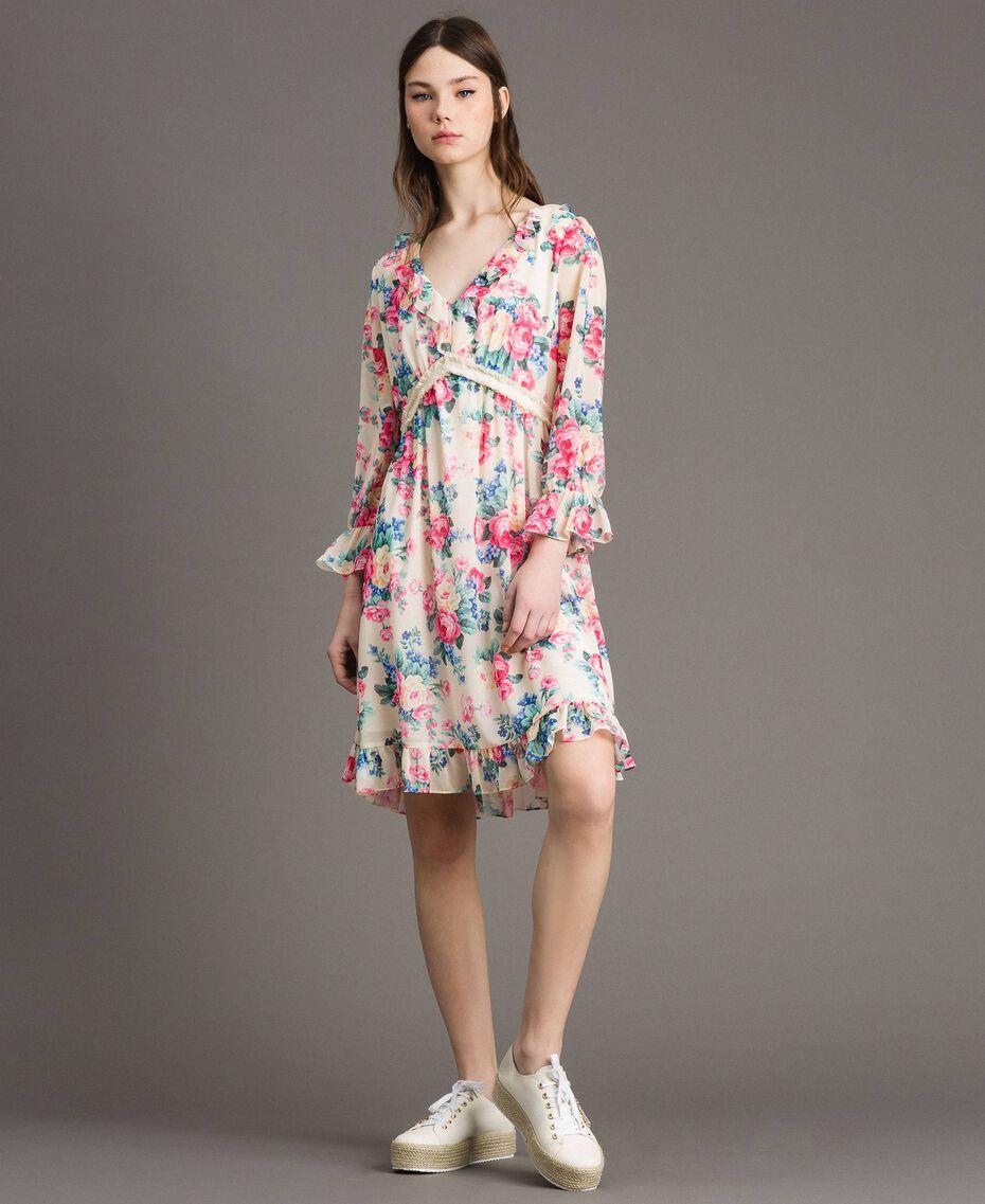 Georgette-Kleid mit Blumenmuster Motiv Tuch Weiße Blumen Frau 191MP2331-01