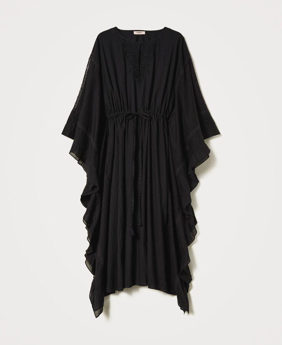 Marrakech muslin long dress with embroidery Black Woman 211TT2704-0S