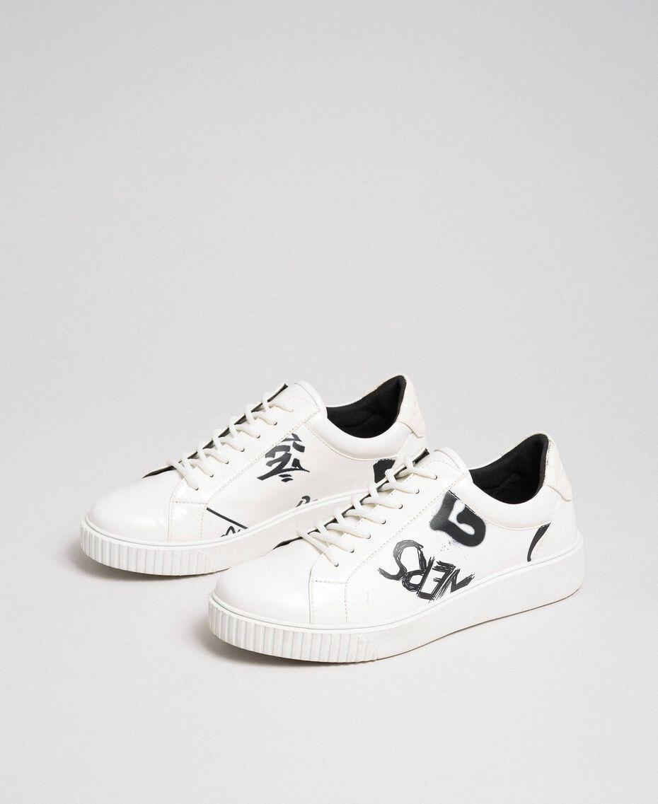 Sneakers aus bedrucktem Lederimitat Graffitiprint Optical Frau 192MCP07A-02