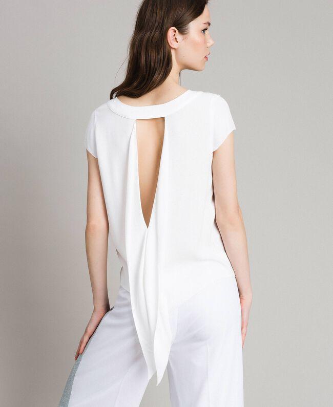 T-shirt en crêpe avec découpe Blanc Femme 191LL23CC-01