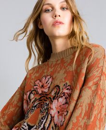 Maxi wool and jacquard lurex jumper Flower and Tiger Jacquard Woman TA83Z1-04