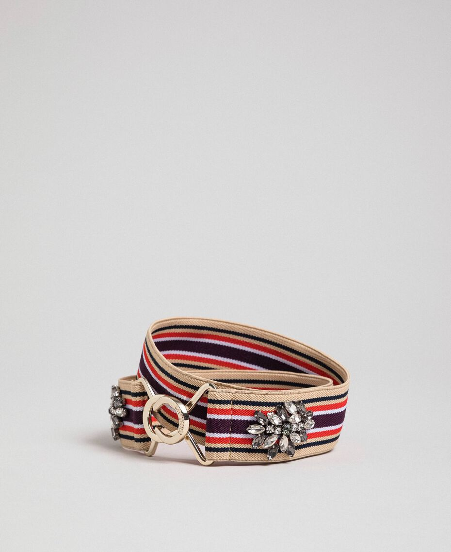 Multicolour elastic belt with stones Burgundy Red Striped / Indigo Woman 192MO5341-01