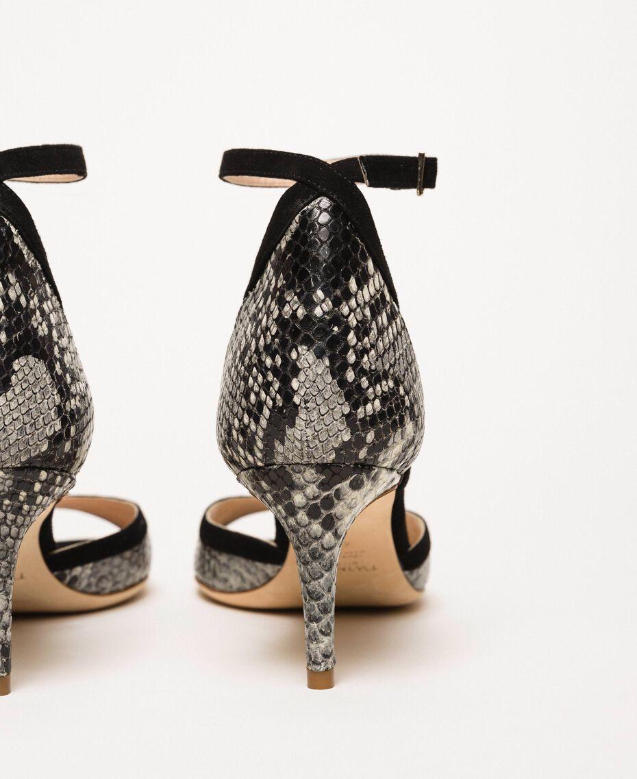 Leather sandals with python print Two-tone Pale Rock Python Print / Black Woman 201TCP022-02