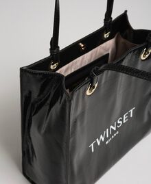 Faux patent leather shopping bag with logo Black Woman 192TA7170-04