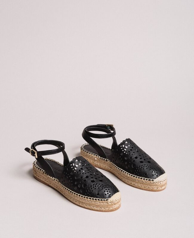 Suede espadrilles with laser embroidery Black Woman 191TCP062-01