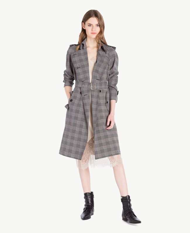 Check trench coat Jacquard Gingham Woman PS827N-01