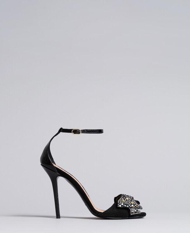 Sandalette aus Veloursleder mit Schleife Schwarz Frau CA8PG1-01