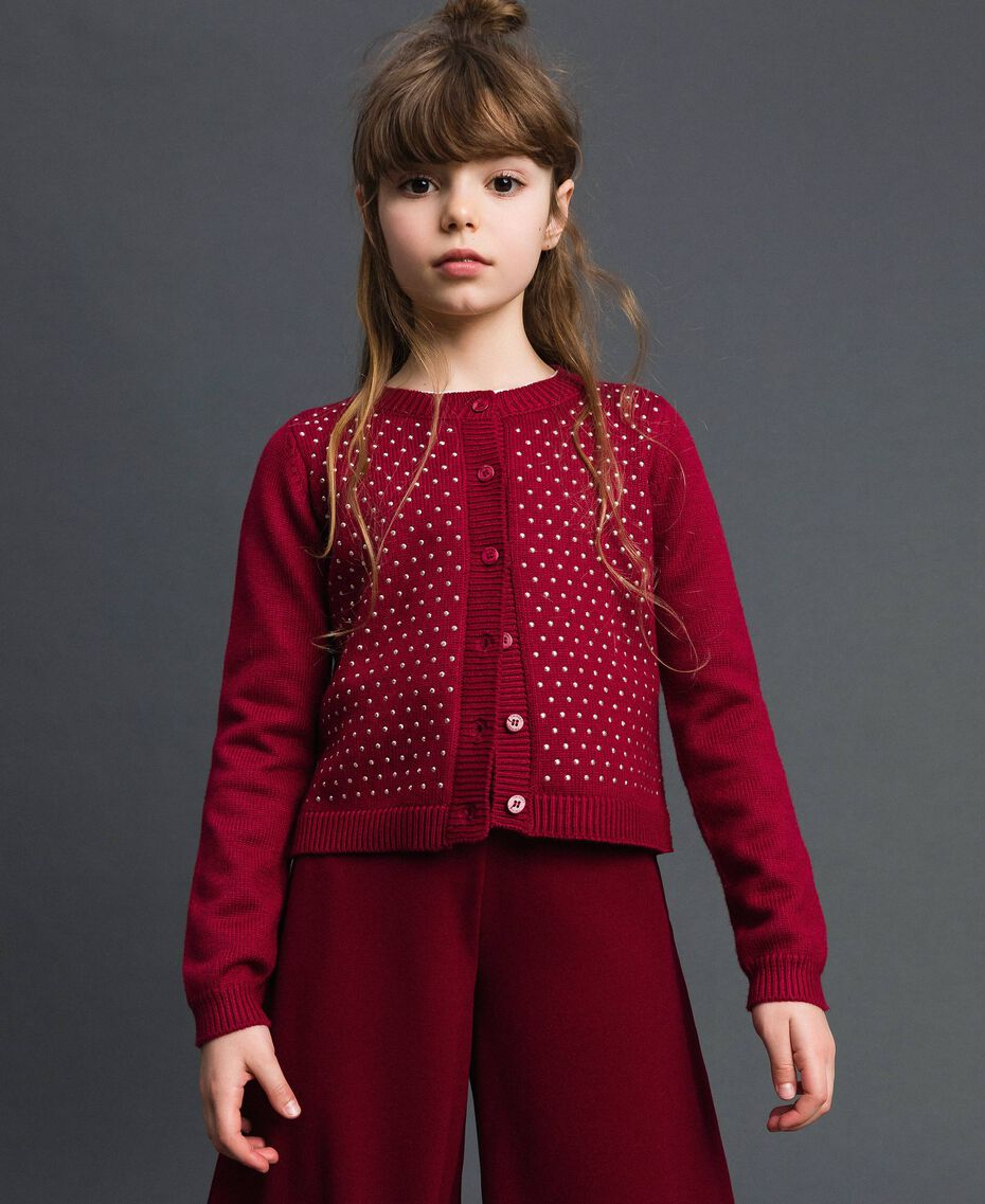 Cardigan with all over studs Ruby Wine Red Child 192GJ3093-01