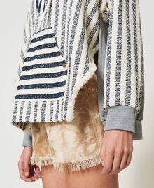 "Oversize striped hoodie ""Ivory Mat"" Grey / Blue Mixed Stripe Woman 211TT2060-05"