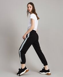 Jogging trousers with lurex panels Black Woman 191LL25KK-04