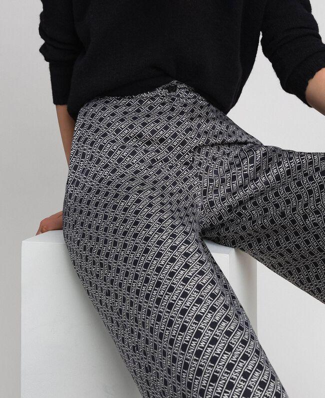 """Logo print palazzo trousers Black / """"Snow"""" White Logo Print Woman 192TP2589-04"""
