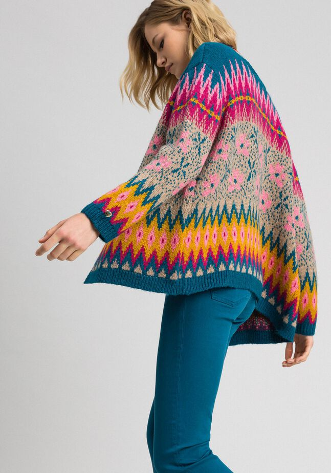 Multicolour jacquard cardigan-jumper