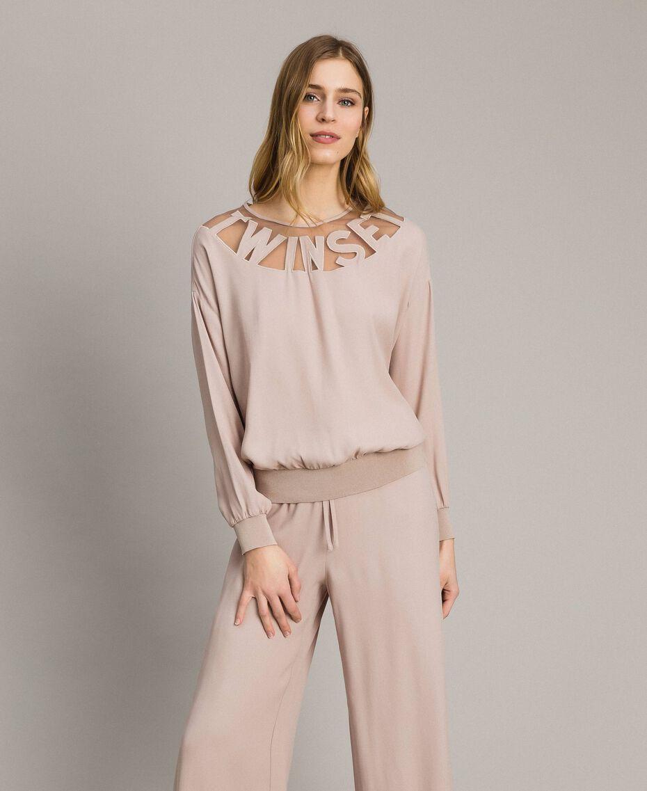 """Sweat shirt avec empiècement en tulle et logo Gris """"Poussière Grise"""" Femme 191LL23BB-02"""