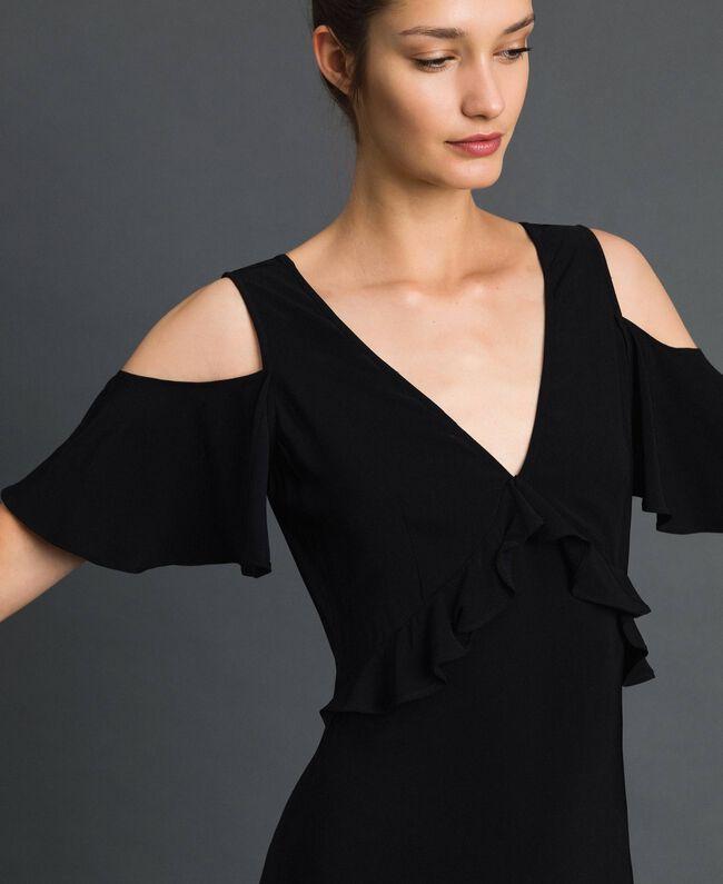 Robe longue en crêpe georgette avec volant Noir Femme 192TP2385-04