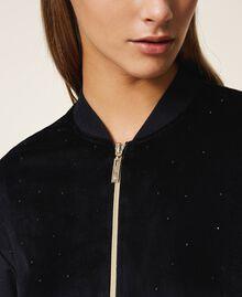 Chenille sweatshirt with rhinestones Black Woman 202LL2GEE-04