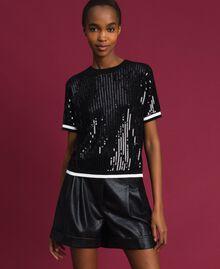 Cropped-Pullover mit aufgestickten Pailletten Zweifarbig Schwarz / Lilie Frau 192MP3122-01