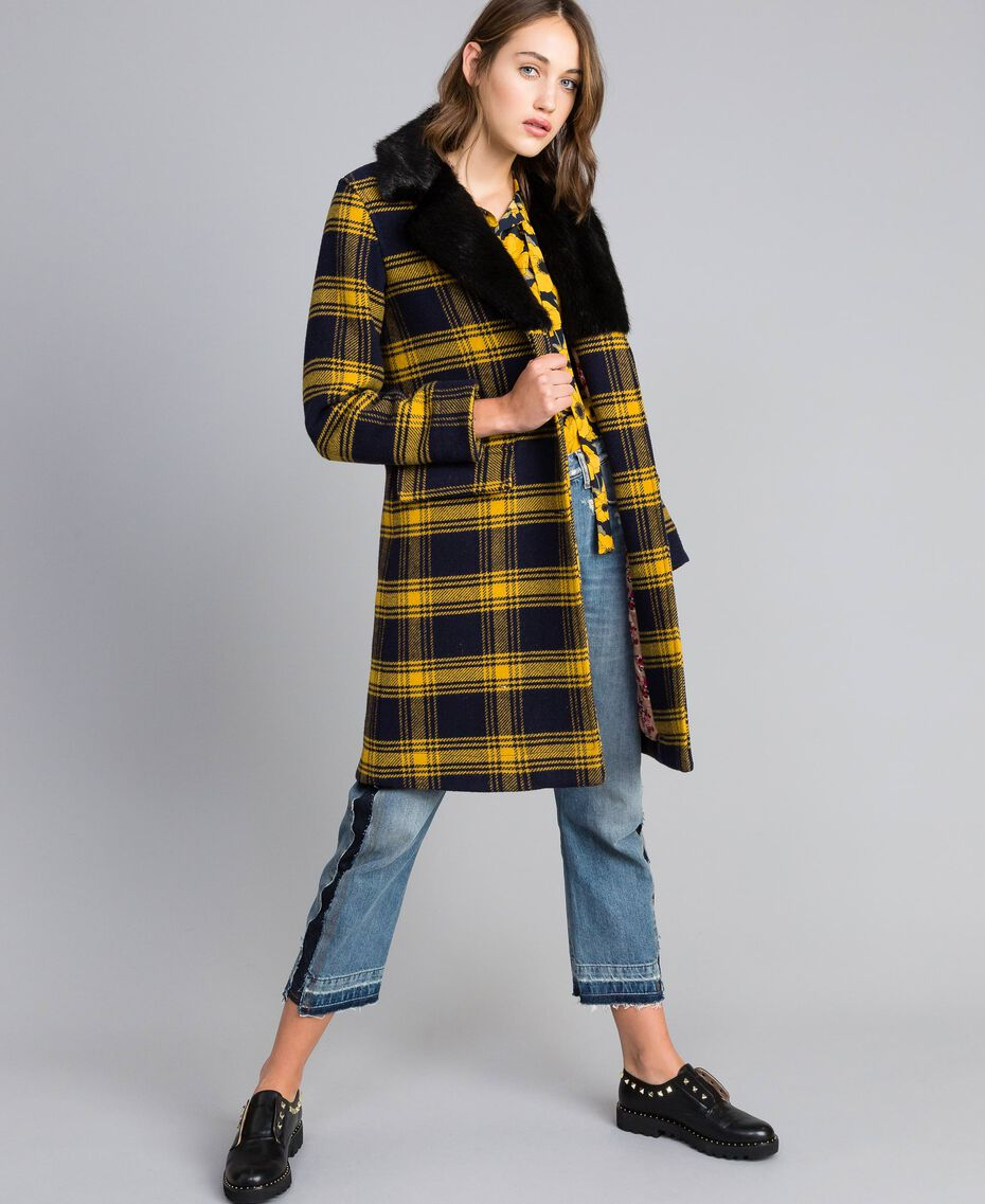 """Cappotto in panno check Bicolor Tartan Blu / Giallo """"Golden Yellow"""" Donna YA82DQ-02"""