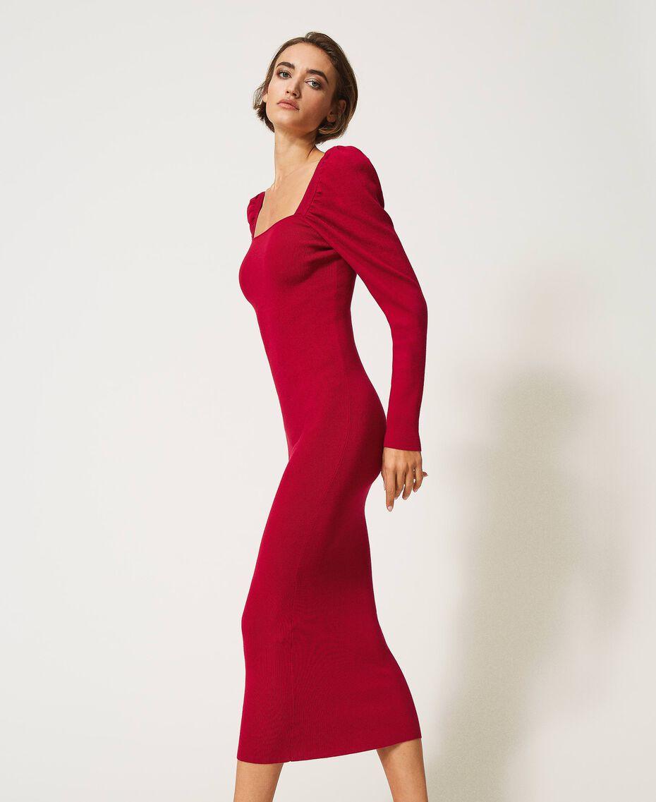 "Knit sheath dress ""Cerise"" Fuchsia Woman 202MP3055-02"