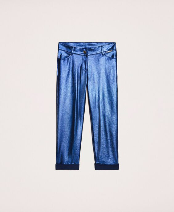 Trousers with iridescent coating