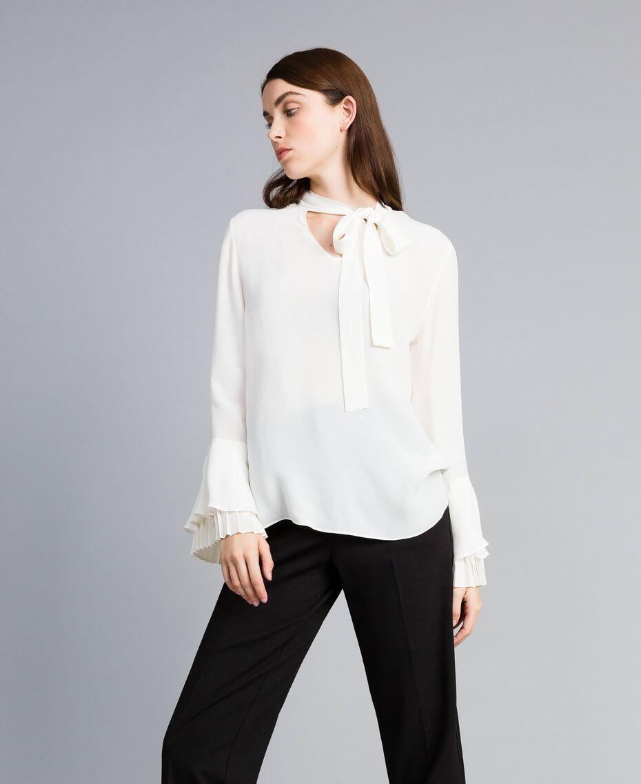 Blusa de seda mixta con plisados White Nieve Mujer TA823T-02