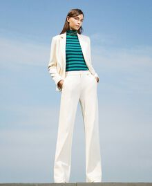 Trousers with crêpe de Chine finishes Creamy White Woman 202MP2292-01
