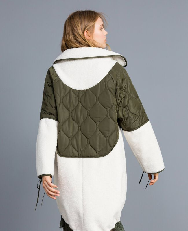 "Nylon and faux shearling parka Bicolour Forest Green / ""Snow"" White Woman TA82BQ-03"