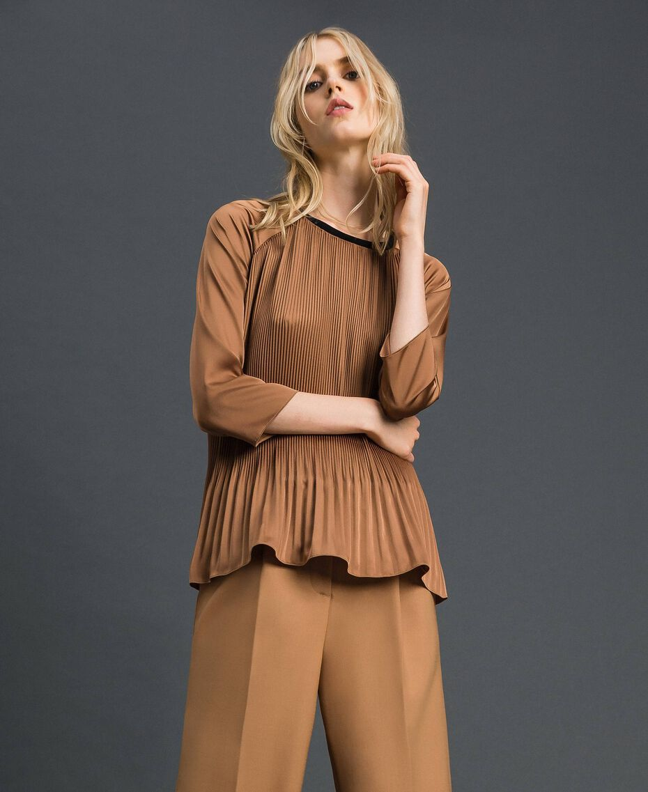 "Pleated blouse with three-quarter sleeves ""Sequoia"" Beige Woman 192ST2090-01"