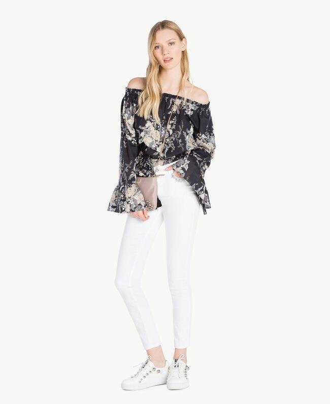Printed blouse Black Flower Bouquet Print Woman YS82PF-05
