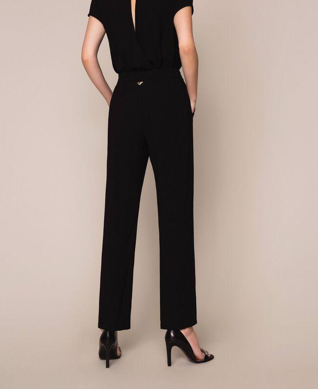Crêpe cigarette trousers Black Woman 201LB25JJ-03
