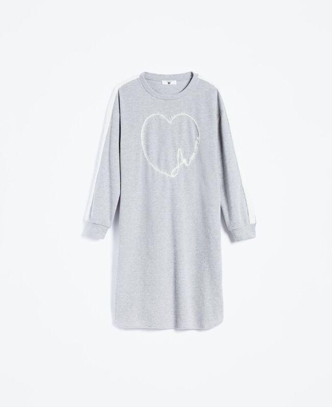 Nachthemd aus Sweatstoff Durchschnittgrau-Mélange Frau LA8MFF-01