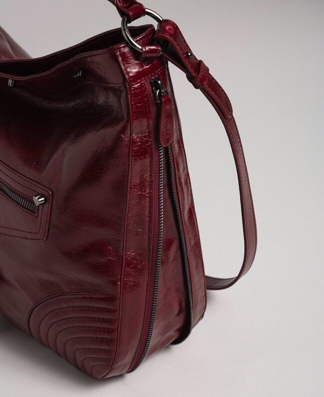 Crackled effect leather hobo bag with studs Beet Red Woman 192TA7236-04