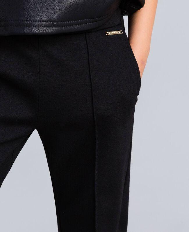 Pantalon en point de Milan Noir Enfant GA82F1-04