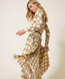 Jupe plissée avec imprimé de chaînes Imprimé Grande Chaîne Ivoire / Or Femme 202TT2212-01