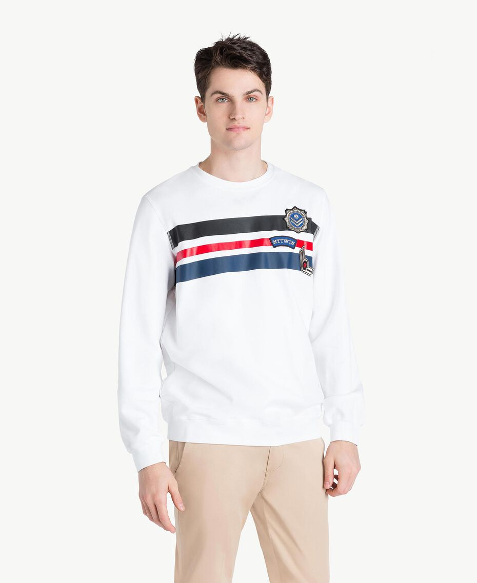 Striped sweatshirt Matte White Man US821P-01